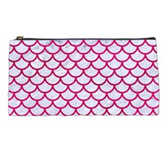 Scales1 White Marble & Pink Leather (r) Pencil Cases by trendistuff