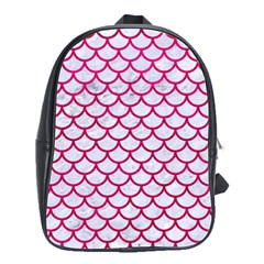Scales1 White Marble & Pink Leather (r) School Bag (large) by trendistuff