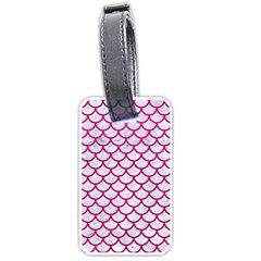 Scales1 White Marble & Pink Leather (r) Luggage Tags (one Side)  by trendistuff