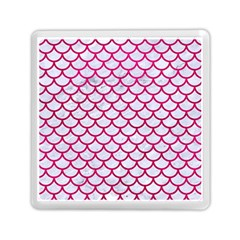 Scales1 White Marble & Pink Leather (r) Memory Card Reader (square)  by trendistuff