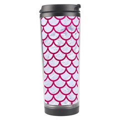 Scales1 White Marble & Pink Leather (r) Travel Tumbler by trendistuff