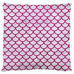 Scales1 White Marble & Pink Leather (r) Large Flano Cushion Case (one Side) by trendistuff