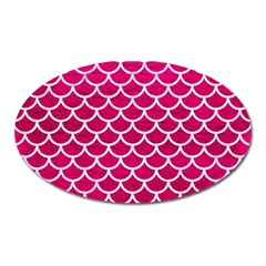 Scales1 White Marble & Pink Leather Oval Magnet
