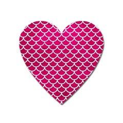 Scales1 White Marble & Pink Leather Heart Magnet by trendistuff