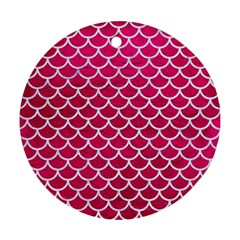 Scales1 White Marble & Pink Leather Round Ornament (two Sides) by trendistuff