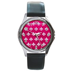 Royal1 White Marble & Pink Leather (r) Round Metal Watch by trendistuff