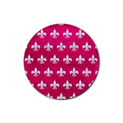 Royal1 White Marble & Pink Leather (r) Rubber Round Coaster (4 Pack)  by trendistuff