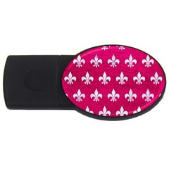 Royal1 White Marble & Pink Leather (r) Usb Flash Drive Oval (2 Gb) by trendistuff