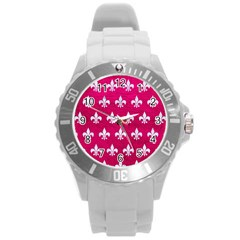 Royal1 White Marble & Pink Leather (r) Round Plastic Sport Watch (l) by trendistuff