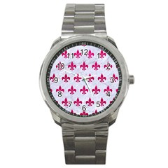 Royal1 White Marble & Pink Leather Sport Metal Watch by trendistuff