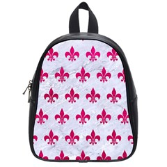 Royal1 White Marble & Pink Leather School Bag (small) by trendistuff