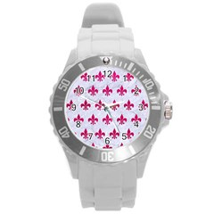 Royal1 White Marble & Pink Leather Round Plastic Sport Watch (l) by trendistuff