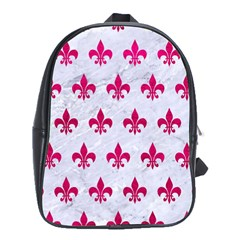 Royal1 White Marble & Pink Leather School Bag (xl) by trendistuff