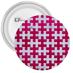 Puzzle1 White Marble & Pink Leather 3  Buttons by trendistuff