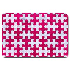 Puzzle1 White Marble & Pink Leather Large Doormat  by trendistuff