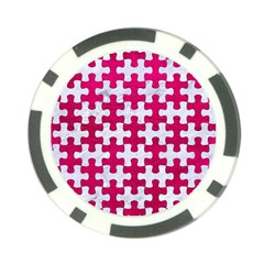 Puzzle1 White Marble & Pink Leather Poker Chip Card Guard by trendistuff