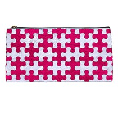 Puzzle1 White Marble & Pink Leather Pencil Cases by trendistuff