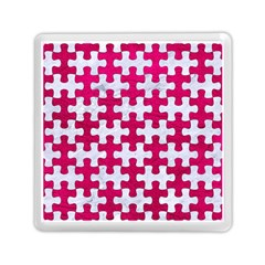 Puzzle1 White Marble & Pink Leather Memory Card Reader (square)  by trendistuff