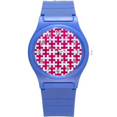 Puzzle1 White Marble & Pink Leather Round Plastic Sport Watch (s) by trendistuff