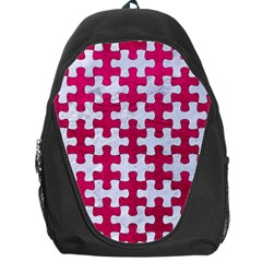 Puzzle1 White Marble & Pink Leather Backpack Bag by trendistuff
