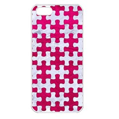 Puzzle1 White Marble & Pink Leather Apple Iphone 5 Seamless Case (white) by trendistuff