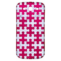 Puzzle1 White Marble & Pink Leather Samsung Galaxy S3 S Iii Classic Hardshell Back Case by trendistuff