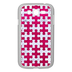 Puzzle1 White Marble & Pink Leather Samsung Galaxy Grand Duos I9082 Case (white) by trendistuff