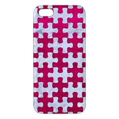 Puzzle1 White Marble & Pink Leather Iphone 5s/ Se Premium Hardshell Case by trendistuff