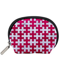 Puzzle1 White Marble & Pink Leather Accessory Pouches (small)  by trendistuff