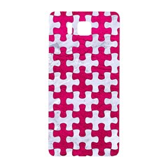 Puzzle1 White Marble & Pink Leather Samsung Galaxy Alpha Hardshell Back Case by trendistuff