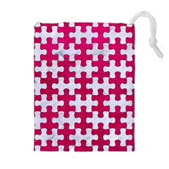Puzzle1 White Marble & Pink Leather Drawstring Pouches (extra Large) by trendistuff