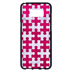 Puzzle1 White Marble & Pink Leather Samsung Galaxy S8 Plus Black Seamless Case by trendistuff