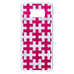 Puzzle1 White Marble & Pink Leather Samsung Galaxy S8 Plus White Seamless Case by trendistuff