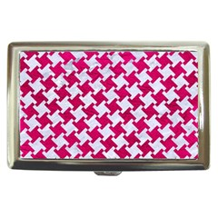Houndstooth2 White Marble & Pink Leather Cigarette Money Cases by trendistuff