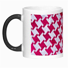 Houndstooth2 White Marble & Pink Leather Morph Mugs by trendistuff