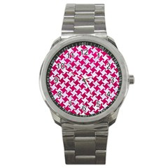 Houndstooth2 White Marble & Pink Leather Sport Metal Watch by trendistuff