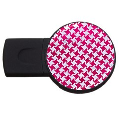 Houndstooth2 White Marble & Pink Leather Usb Flash Drive Round (4 Gb) by trendistuff