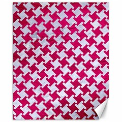 Houndstooth2 White Marble & Pink Leather Canvas 16  X 20   by trendistuff