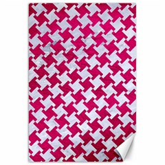 Houndstooth2 White Marble & Pink Leather Canvas 20  X 30   by trendistuff