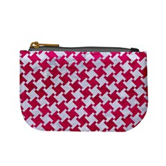 Houndstooth2 White Marble & Pink Leather Mini Coin Purses by trendistuff