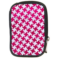 Houndstooth2 White Marble & Pink Leather Compact Camera Cases by trendistuff