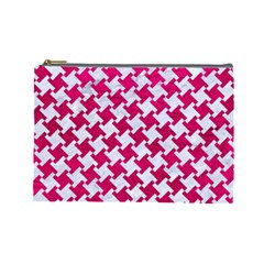 Houndstooth2 White Marble & Pink Leather Cosmetic Bag (large)  by trendistuff