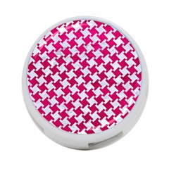 Houndstooth2 White Marble & Pink Leather 4 Port Usb Hub (one Side) by trendistuff