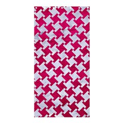 Houndstooth2 White Marble & Pink Leather Shower Curtain 36  X 72  (stall)  by trendistuff