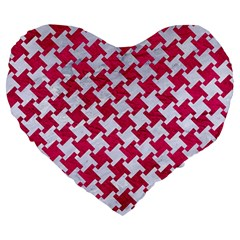 Houndstooth2 White Marble & Pink Leather Large 19  Premium Heart Shape Cushions by trendistuff