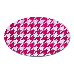 Houndstooth1 White Marble & Pink Leather Oval Magnet