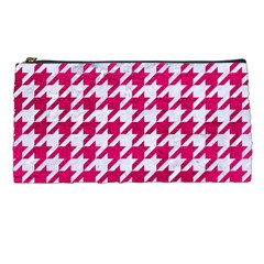 Houndstooth1 White Marble & Pink Leather Pencil Cases by trendistuff