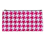 HOUNDSTOOTH1 WHITE MARBLE & PINK LEATHER Pencil Cases Front