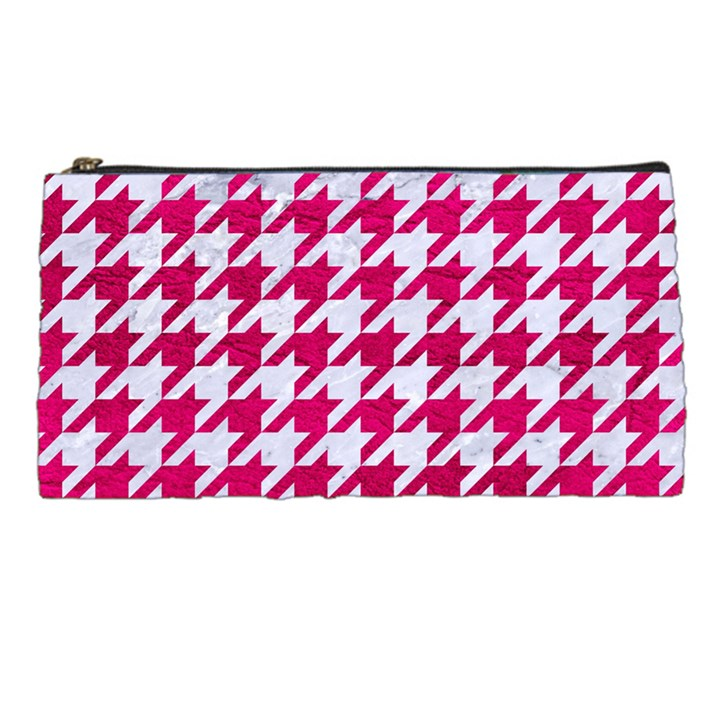 HOUNDSTOOTH1 WHITE MARBLE & PINK LEATHER Pencil Cases