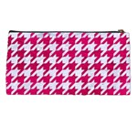 HOUNDSTOOTH1 WHITE MARBLE & PINK LEATHER Pencil Cases Back